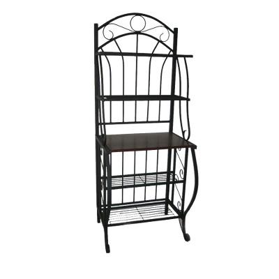 valencia baker rack storage unit metal black boraam industries