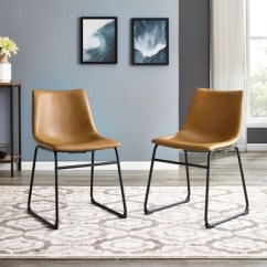 Faux Leather Dining Chairs Invisible Chair Stand 2pk 18 Whiskey Brown Saracina Home Target
