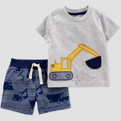 Baby Boys' 2pc Construction Shorts Set - Just One You® made by carter's Gray/Navy Blue
