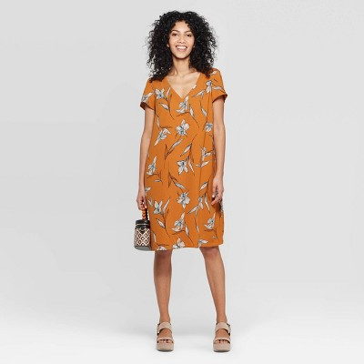 Women's Floral Print Short Sleeve V-Neck Crepe Dress - A New Day™ Rust/White