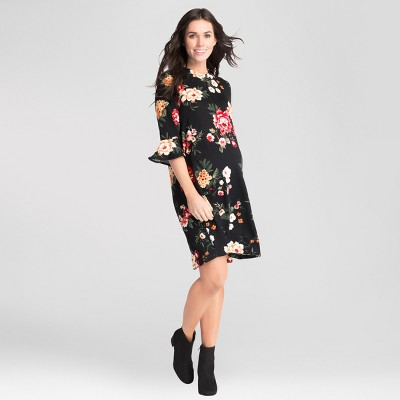 Maternity Floral Print Bell Sleeve Swing Dress - Expected by Lilac - Black