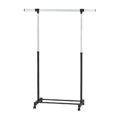 adjustable single rod garment rack black room essentials