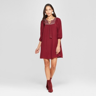 Women's 3/4 Sleeve Scoop Neck With Embroidery - Knox Rose™ Burgundy