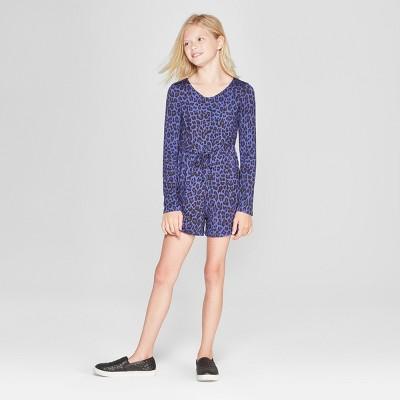 Girls' Long Sleeve Ruched Romper - art class™ Blue