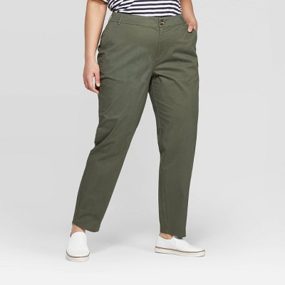 Women's Plus Size Slim Fit Chino Pants - Ava & Viv™
