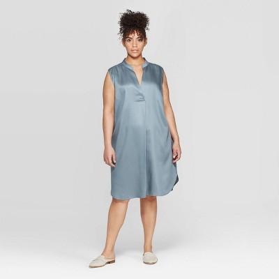 Women's Plus Size Strapless Deep V-Neck Tunic Dress - Prologue™