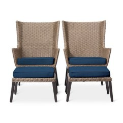 All Weather Wicker Outdoor Chairs Grey Wash French Bistro Dining Set Of 2 Ennismore 4pc Patio Conversation Seating Navy Threshold Target