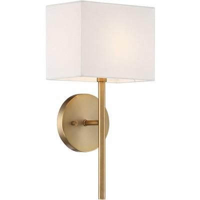 possini euro design modern wall sconce lighting warm brass hardwired 16 1 4 high fixture rectangular linen bedroom bathroom home