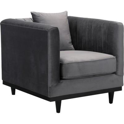 Mid - Century Tufted Velvet Arm Chair Gray - ZM Home