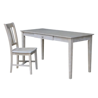 Large Desk with Drawer and Chair - Washed Gray Taupe - International Concepts