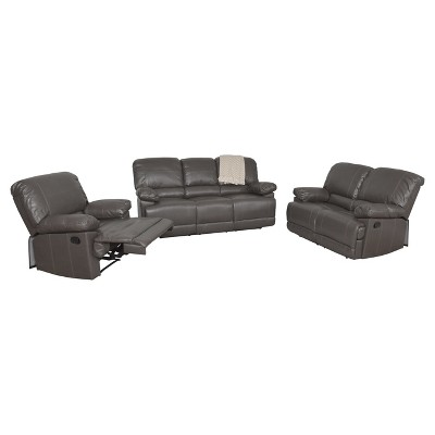 3pc Bonded Leather Reclining Sofa Set - CorLiving