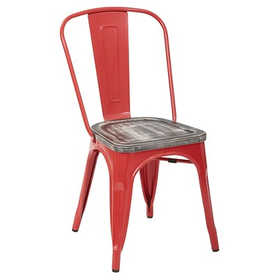 target metal chairs slingback patio clearance bristow red frame chair with vintage wood seat ash crazy horse 4 pack osp designs