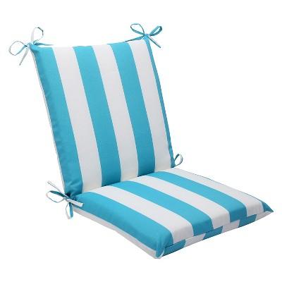 pillow perfect cabana stripe outdoor squared edge chair cushion blue