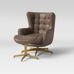 Swivel Club Chair With Ottoman Folding Outdoor Chairs Canada Ordrup Tufted Faux Leather Brown Project 62 Target