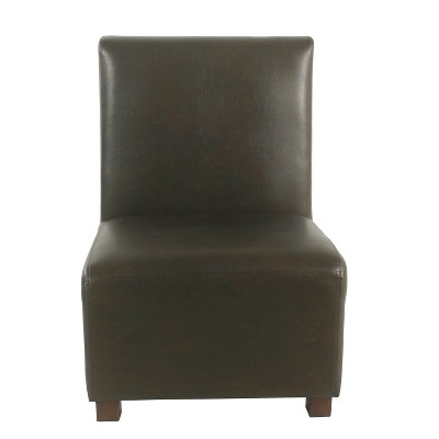 brown slipper chair cj tables and chairs kids cushioned faux leather homepop target