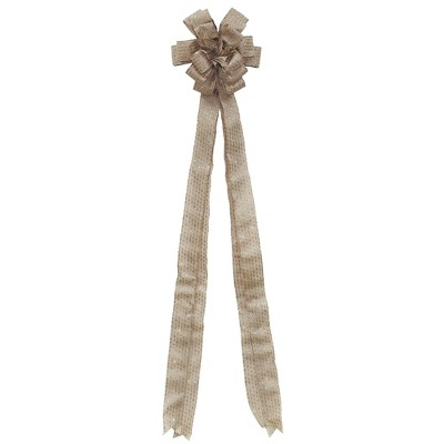 """Northlight 48"""" Burlap with Silver Glitter Stripes 16 Loop Christmas Tree Topper Bow Decoration"""
