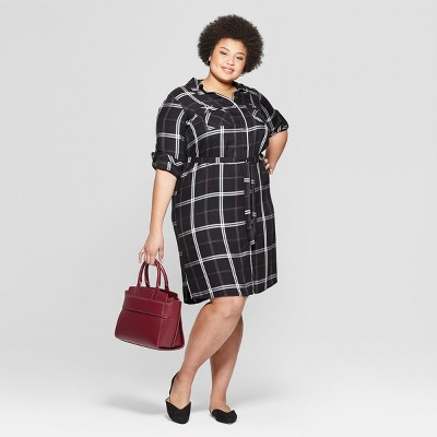 Women's Plus Size Plaid Long Sleeve Collared Shirt Dress - Ava & Viv™ Black