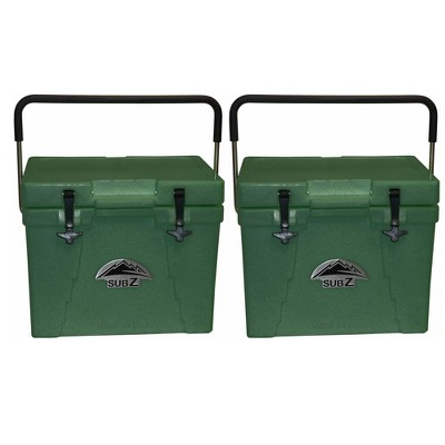 Sub Z 23 Quart Double Wall Insulated Portable Cooler With Handle, Green (2 Pack)