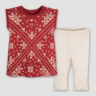 Burt's Bees Baby® Girls' Organic Cotton Bandana Tunic and Crochet Capri Leggings Set - Red