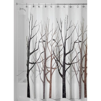 forest shower curtains white brown idesign