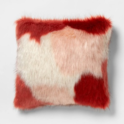 square color block faux fur throw pillow burgundy pink opalhouse