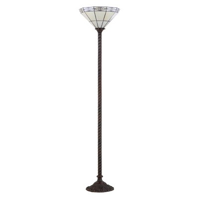 """68.57"""" Moore Tiffany Style Torchiere LED Floor Lamp Bronze (Includes Energy Efficient Light Bulb) - JONATHAN Y"""