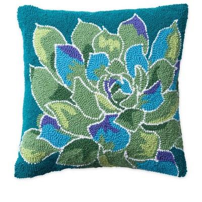 vivaterra succulent hand hooked wool pillow green
