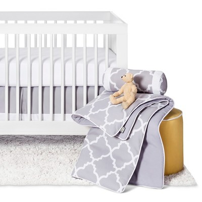 Sweet Jojo Designs Gray & White Trellis 11pc Crib Bedding Set - Gray