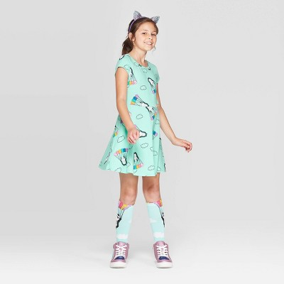 Girls' Panda Print Knit Dress - Cat & Jack™ Aqua