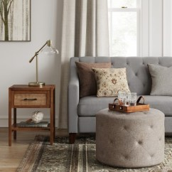 Rattan Side Tables Living Room Gray Leather Chairs Warwick Wood Table Brown Threshold Target