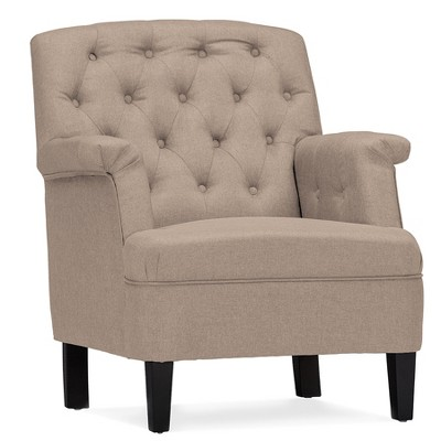 Jester Classic Retro Modern Contemporary Fabric Upholstered Button - Tufted Armchair - Baxton Studio