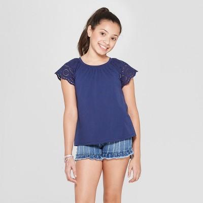 Girls' Short Sleeve Eyelet Sleeve T-Shirt - Cat & Jack™ Navy