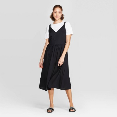 Women's Relaxed Fit Sleeveless Deep V-Neck Midi Dress - A New Day™ Black