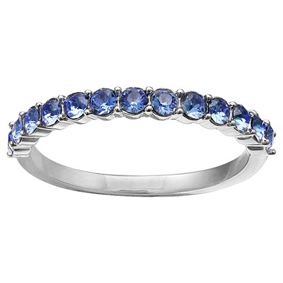 Eternity Band Ring in Fine Silver Plate with Crystals from Swarovski - Blue/Gray (Size 8)