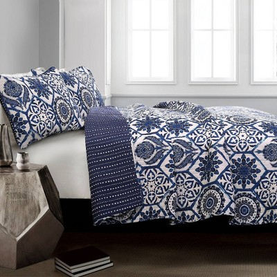 Navy Marvel Quilt  Set - Lush Decor