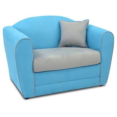 Tween Loveseat - Sky Blue With Pebbles Seat & Welt Trim - Kangaroo Trading Co.