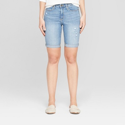 Women's High-Rise Double Cuff Bermuda Jean Shorts - Universal Thread™ Light Wash