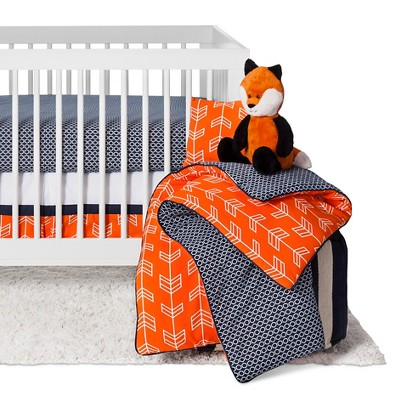 Sweet Jojo Designs Orange & Navy Arrow 11pc Crib Bedding Set - Orange Sorbet