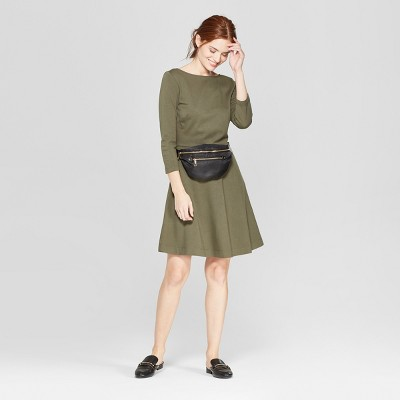Women's 3/4 Sleeve Fit & Flare Ponte Dress - A New Day™