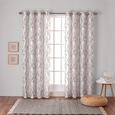 Branches Linen Blend Grommet Top Window Curtain Panel Pair - Exclusive Home™