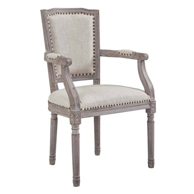 Penchant Vintage French Upholstered Fabric Dining Armchair - Modway