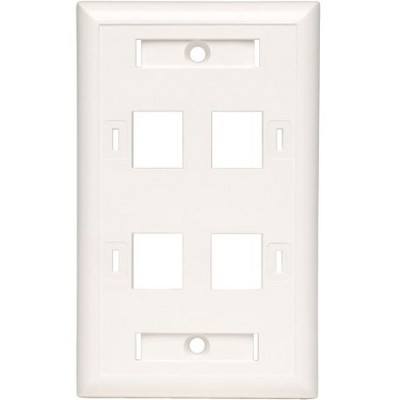 Tripp Lite Quad Outlet RJ45 Universal Keystone Face Plate / Wall Plate, White, 4-Port - 4 x Socket(s) - 1-gang - White - TAA Compliant