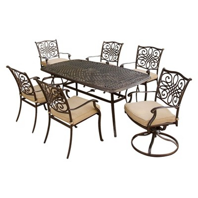 traditions 7 piece metal patio dining furniture set