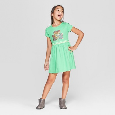 Girls' Flip Sequins Shamrock Dress - Cat & Jack™ Light Green