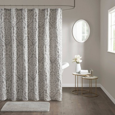 eliot jacquard shower curtain tan