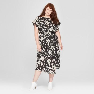 Women's Plus Size Floral Print Short Sleeve Pleated Wrap Dress - Prologue™ Black/White