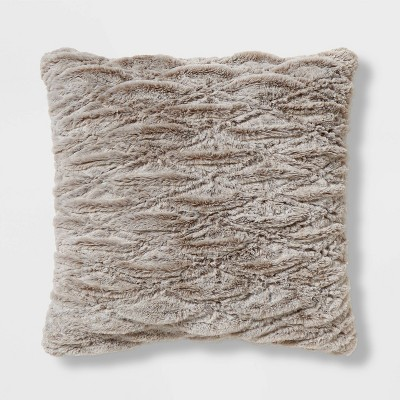 euro rouched faux fur throw pillow beige threshold