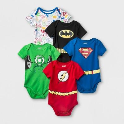 Baby Boys' 5pk DC Comics Justice League Bodysuit - Blue/Red