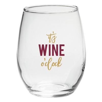 4ct Kate Aspen It's Wine O' Clock 15oz. Stemless Wine Glass