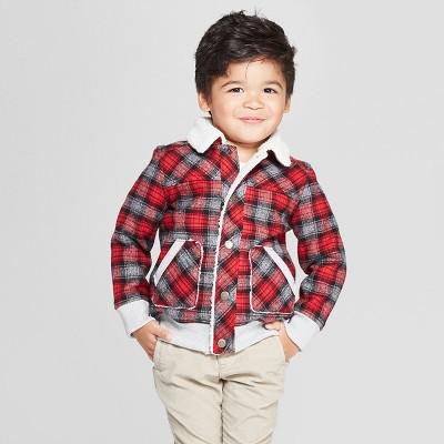 Genuine Kids® from OshKosh Toddler Boys' Sherpa Trucker Track Jacket - Red